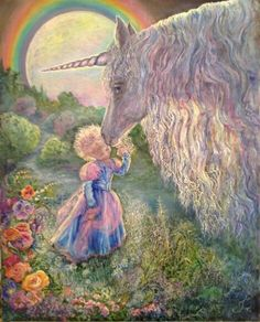 As a child, my parents bought a unicorn stuffed animal for me...the size of my whole twin size bed :-)  Happiest smile ever!!! Unicorn Kiss by Josephine Wall