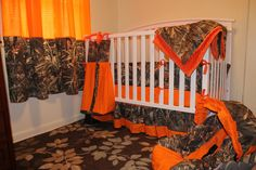 COMPLETE NURSERY 7 pc set Camo MAX4 shadow grass duck fabric and Orange minky dot baby Crib Bedding Set with and free Monograms. $400.00, via Etsy.