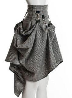Gray Black Steam Punk Skirt