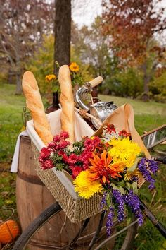 Gathered: Styled Events | Vintage Rentals    Vintage Farmers Market Wedding    Bicycle basket with bread and flowers.