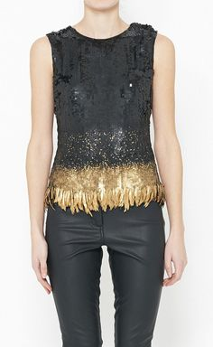 Oscar de la Renta Black And Gold Top fashion, la renta, renta black, style, cloth, de la, sequin black, gold top, oscar de