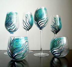 marywibis - Peacock wineglass sets