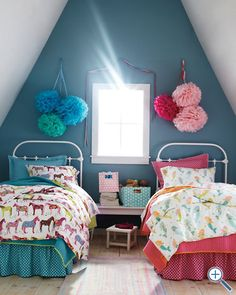 A colorful bedroom for two kids.