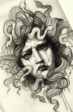 Tattoo Artwork by Alix Ge at Denis Tattoo in Versailles, France Jag tycker extra mycket om uttrycket i Medusas ansikte. Jag ser både sorg och hat i hennes ögon.