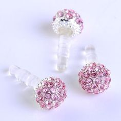 1pc 3.5mm Pink Crystal Disco Ball Anti Dust Plug Stopper for Iphone Ipad Cell Phone by Better Deals. $3.29. Quantity:1pc(only stopper, no phone) Size: (approx) 3.5mm for stopper,10*10*7mm for ball Material: Silver Plated Alloy & Crystal Weight: (approx)2g This anti-dust stopper fit most cell phone which earphone hole is 3.5mm.  The photos do not show the real size,please see description for details. You will get similar one as photos.  Form: 1mm = 0.0394 inch, 1g = 5 Carat