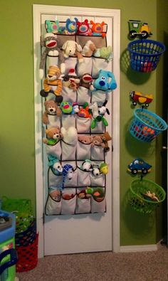 Put stuffed animals in shoe organizers and hang laundry baskets on coat racks!
