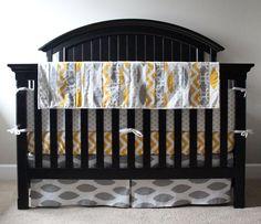Crib bedding - Grey and Yellow baby bedding set