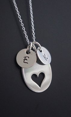Initial Necklace Sterling Silver Hand Stamped