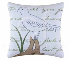 Seagull Embroidered Pillow | OceanStyles.com
