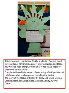 Let's Make the Statue of Liberty!  A fun craftivity for anytime of the year!
