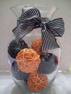 orange and black Halloween/Fall centerpiece ~ rattan balls from Dollar Tree
