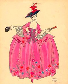 illustration 17th century french lady in pink