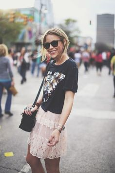 Pink Lace Skirt Top Graphic Tee & Black Bag