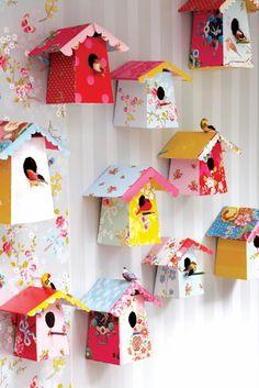 DIY Paper Birdhouse birdhouses, craft, pip studio, little birds, templat, paper birds, kid room, bird hous, girl rooms