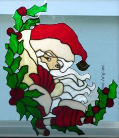 Santa Claus w/ Holly & Berries - Stained Glass Holiday Window Hanging | CreativeArtglass - Glass on ArtFire