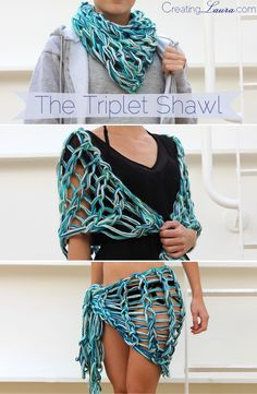 The Triplet Shawl: An Arm Knitting Pattern