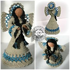 'Nizhoni' means beautiful in the Navajo language. With touches of turquoise and silver, she proudly displays her Southwest Indian Native American heritage. This soft sculpture figurine is lovingly handcrafted with fine crochet thread and then carefully starched. She stands about 7 inches tall, perfect for displaying in your curio cabinet or on the bookshelf. She is also available by custom order in any colors of your choosing. thread crochet angel