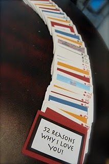 52 Reasons Why I Love You - on deck of cards.