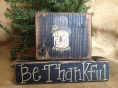 Primitive Country Scarecrow Be Thankful Thanksgiving Fall Wood Sitter Block Set  #PrimitiveScarecrow