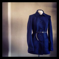 Tailored Winter Coat in Navy Melton.  Made with LOve by www.lo-studio.biz http://www.facebook.com/lostudiopage