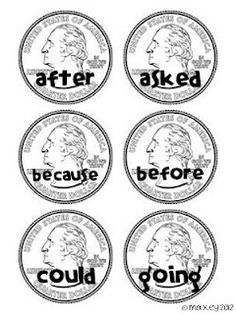 Money and Sight Words- When students get the sight word correct they get to add it to their piggy bank. GREAT way to practice sight words and counting money!