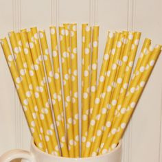 Paper Straws, Solid Yellow Dots ( 25 ) Yellow Paper Drinking Straws with Diy Flags, Baby Showers, Rubber Ducky Parties, Baby Chick, Easter,. $4.50, via Etsy.