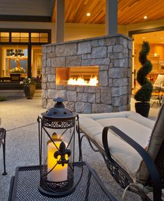 A cozy outdoor fireplace. Bellevue, WA Coldwell Banker BAIN $3,385,000