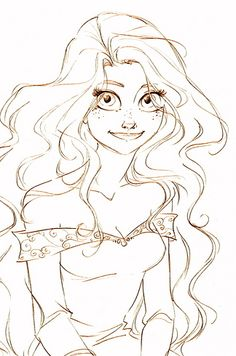 Rapunzel (this one is almost better than in the movie) | 19 Disney Characters That Could Have Looked Completely Different sketches disney, disney sketchs, rapunzel sketch