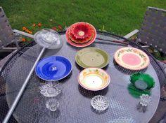garden art, flea markets, flea market gardening, dish flower, glass flowers for the garden