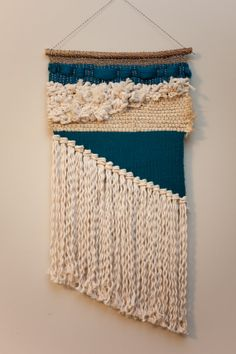 teal asymmetrical / tapestry wall hanging / weaving with cotton and wool / textile art