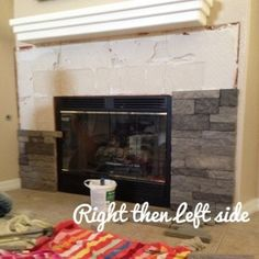 "DIY Fireplace Makeover using something called ""Airstone"". Gotta find this stuff. Seems pretty easy to work with."