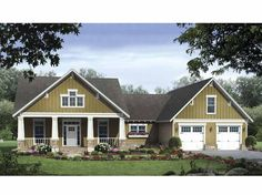 Craftsman House Plan with 2108 Square Feet and 3 Bedrooms from Dream Home Source | House Plan Code DHSW64701 craftsman houses, home plans, cottage houses, dream, garag, hous plan, floor plans, bedroom, house plans