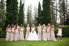 nude bridesmaids dresses + baby's breath bouquets http://su.pr/29z1wh photos by Acres Of Hope