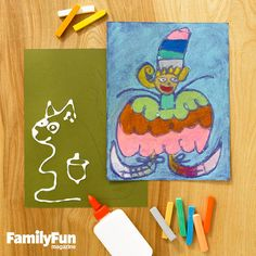 Glue Glass: This simple technique produces a vibrant work of art that resembles stained glass. First, use a pencil to lightly draw a picture on a piece of colored paper; a drawing with lots of closed shapes works best. Go over the lines with white glue. Let the glue dry, then color in the drawing with chalk pastels. To keep pastel drawings from smudging, cover them with a light coat of hair spray. When it dries, the spray helps seal the artwork much like a spray fixative does.