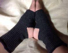 B71 green stripe merino wool felt Yoga socks, toeless socks, heelless socks, upcycled by mcleodhandcraftgifts,