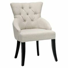 Set of two birch wood accent chairs with tufted beige linen upholstery and foam cushioning.