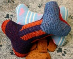Old sweater dog toys with squeaker