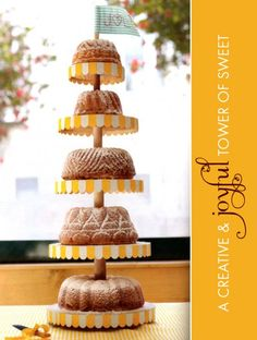 DIY wedding cake  with a series of Bundt cakes