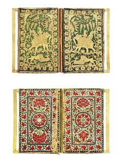 A FINE GOLD ENAMELLED BELT-BUCKLE  PRATABGARH, RAJASTHAN, 19TH CENTURY  Each panel of rectangular form, the front with two Pratabgarh panels on green glass, each depicting noblemen riding an elephant whilst a lion attacks a deer, a bird perched at top, with floral borders, the reverse with fine red, green and blue floral enamelling on white ground, with birds amidst foliage, one panel sliding into a rail concealed in the second panel's long edge, dents and minor losses