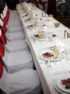 Red Chair Sashes and Linen Decorations for Wedding
