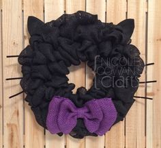 Halloween Burlap Wreath - Black Cat Wreath - Halloween Black Cat Wreath - Black???