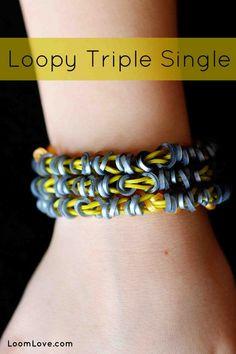 How to Make a Loopy Triple Single Rainbow Loom Bracelet