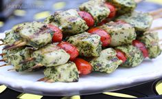 Grilled Pesto Chicken and Tomato Kebabs. would be tasteeee with some fresh mozzarella