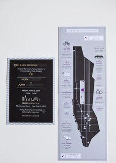 Favorite Spots Map in Wedding Invitation
