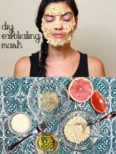 All natural gentle exfoliating mask you can make with ingredients you have at home tonight! Treating yourself has never been so easy. Grapefruit, Oatmeal, plain whole-fat yogurt and raw honey - so good for your skin.