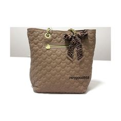 Betsey Johnson Heart Embossed Quilted Leather Tan Tote Bag Handbag found on Polyvore
