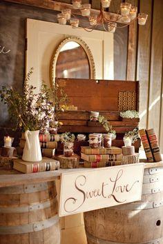 desserts, dessert tables, vintage books, sweet tables, barrels, weddings, cake stands, floral designs, old books