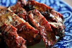 TENDER AND JUICY GRILLED SPARERIBS WITH BABY BACK RIBS OR ST. LOUIS CUT RIBS.  RIBS ARE BRINED IN A CITRUS SALT BRINE, GRILLED, AND GLAZED WITH A SWEET BOURBON SAUCE.