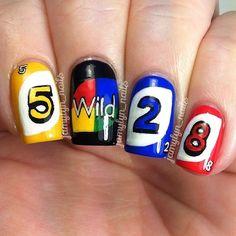 Instagram media by jamylyn_nails - uno cards #nail #nails #nailart