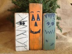 Primitive Country Pumpkin Mummy Monster Halloween Wood Shelf Sitter Block Set #Halloween